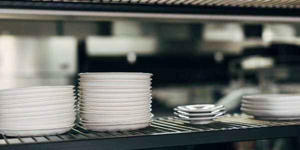 Stack of plates in a commercial kitchen