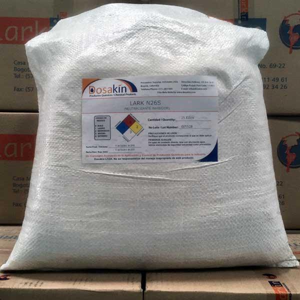 LARK N-26Sneutralizante e inhibidor de corrosión posterior a tratamientos ácidos de decapado en procesos de porcelanizado, esmaltado, galvanizado, etc